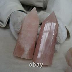 10.97LB 8Pcs Natural Pink Rose Quartz Crystal Point Tower Polished Healing