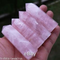 1pc New 100% Natural Rock Pink ROSE Quartz Crystal Stone Point Healing Wand