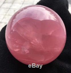 2.6lb 94mm Polished Pink Rose SPHERE BALL QUARTZ NATURAL Crystal HEALING WithStand