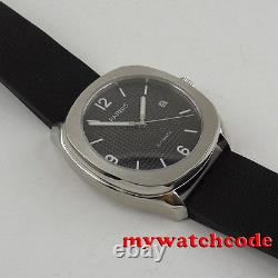 40mm PARNIS black dial Sapphire glass 21 jewels Miyota 821A automatic mens watch