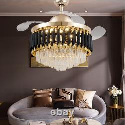 42 Luxury Crystal Invisible Ceiling Fan Light Remote Control LED Chandelier