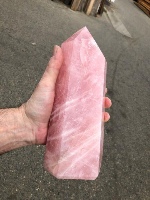 6 Pound Polished Rose Quartz Pyramid 9.5 Inches Tall 4 Inches Wide Very Nice