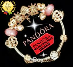 Authentic Pandora Bracelet Silver Bangle Rose Gold Love with European Charm New