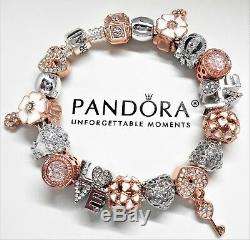 Authentic Pandora Silver Charm Bracelet With Love Rose Gold Charms Heart & Key