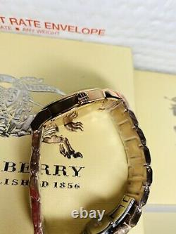 BURBERRY BU9039 The City Rose Gold-Plated Stainless Steel Watch 38mm With Tags