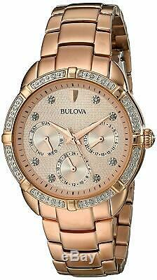 Bulova Women's Diamond Accent Markers Rose Gold-Tone 36mm Watch 98R178