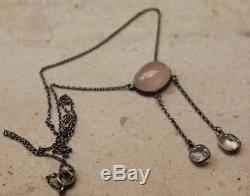 C1910 Art Nouveau silver, rose quartz and rock crystal negligee with 2 danglers