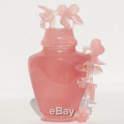 China Chinese Natural Rose Quartz Crystal Covered Vase Stone Carving Stand Case
