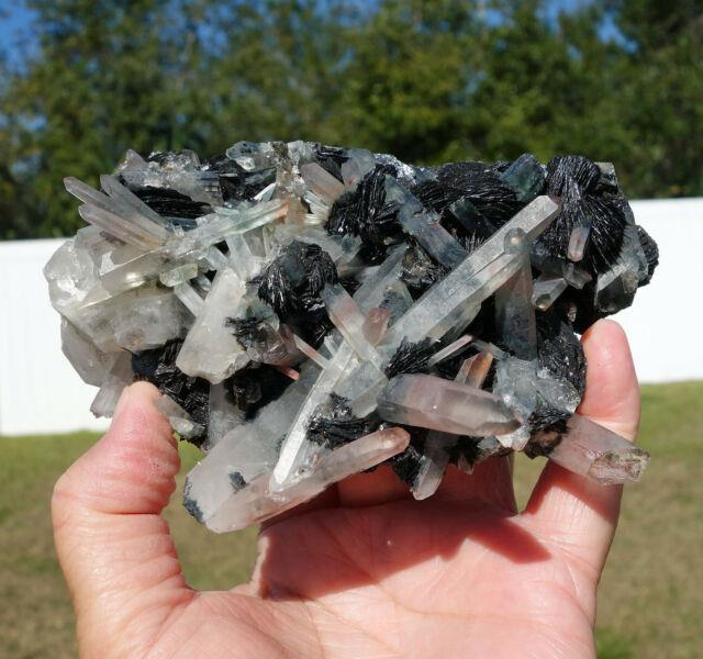 Clear Quartz Crystal With Hematite Iron Roses With Red Cluster Points