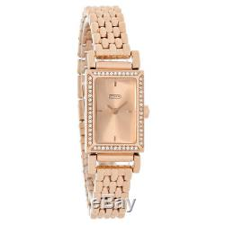 Coach Madison Ladies Rose Gold Dial Ion Plated Crystal Quartz Watch 14501811