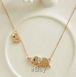 Fashion Women Animal Elephant Long Chain Crystal Gold Plated Pendant Necklace