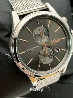 Hugo Boss HB 1513440 Jet Grey Chronograph Silver Stainless Steel Mens Watch