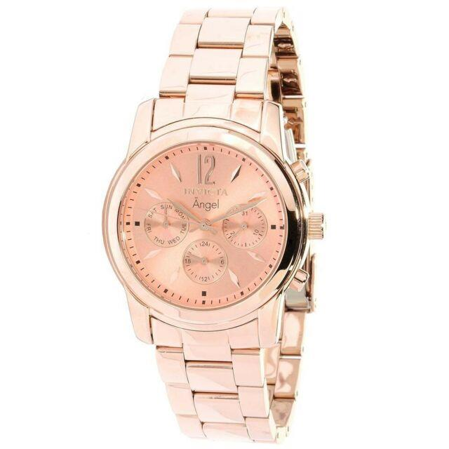 Invicta 12509 Women's Angel Rose Gold Stainless Steel Gmt Watch