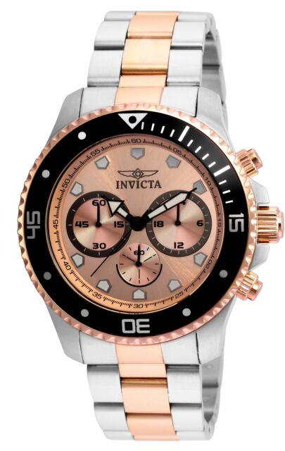 Invicta 21791 Pro Diver Men's Chronograph 45mm Steel Rose Gold Dial Watch