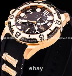 Invicta Men NAUTICAL BOLT CHRONOGRAPH Rose Gold Tone Black Dial CABLE Watch