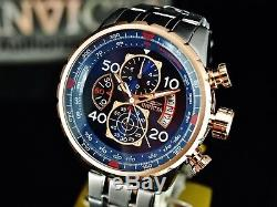 Invicta Men's 48mm Aviator Chronograph Blue Dial 18K Rose Gold Plated SS Watch