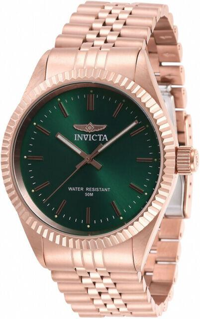 Invicta Men's Specialty Quartz Green Dial Rose Gold Stainless Steel Watch 29391