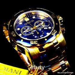 Invicta Pro Diver Scuba 18kt Gold Plated Steel Chronograph Blue 48mm Watch New