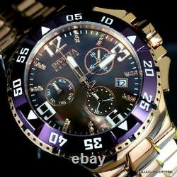 Invicta Reserve Excursion Rose Gold Plated Aubergine MOP Diamond Swiss Watch New