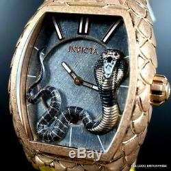 Invicta Tonneau Venom Cobra Rose Gold Plated Stainless Steel Watch New With Tags