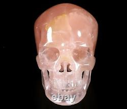 Lifesized 7.2 ROSE QUARTZ Carved Crystal Skull, Super Realistic, Healing#393