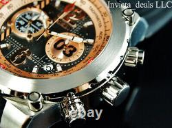 NEW Invicta Men's 50mm AVIATOR AIRLIFT Chronograph ROSE DIAL Silver Tone Watch