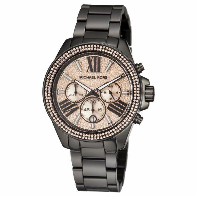 New Micheal Kors Ladies Everest Rose Gold Dial Black Chrono Crystal Watch Mk5879