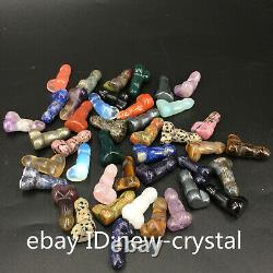 Natural Quartz Crystal penis Carved crystal Dick Testicle Massage wand healing