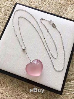 Natural Star Rose Quartz Crystal Pendants Nice Necklaces AAAA191711mm Silver