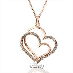 New 18K Rose Gold Filled Double Heart Pendant Necklace With Swarovski Crystal
