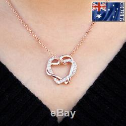 New 18K Rose Gold Filled Women's Heart Pendant Necklace With Swarovski Crystal