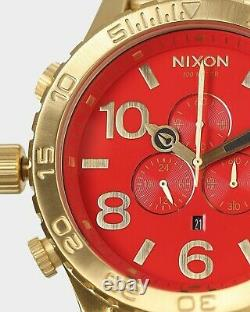 Nixon Watch 51-30 Chrono RED Gold A083-514 Men's New Dial A083514 Genuine