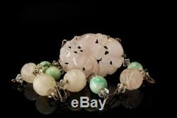 Old Chinese Carved Rose Quartz Jade Shou Rock Crystal Beads Silver Necklace D103