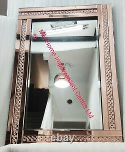 Rose Gold Exposed Floating Crystal Sparkly Wall Mirror Large 120x80cm Flaws