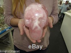 SKULL CARVED OF ROSE QUARTZ CRYSTAL 2.730Kgs 6 Lbs 6 inches Free Shipping