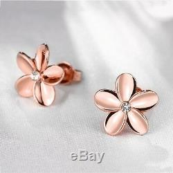Women's Rose Gold Plated Crystal Lovely Small Flower Ear Stud Earrings Solid CA